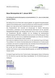 Medienmitteilung Neue Strompreise ab 1. Januar 2012 - NetZulg AG