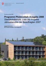 Programm Photovoltaik Ausgabe 2008 ... - Bundesamt für Energie BFE