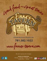 Menu - Finna's Tavern