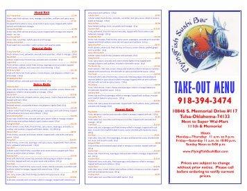 California roll avocado roll asparagus roll string for Flying fish menu