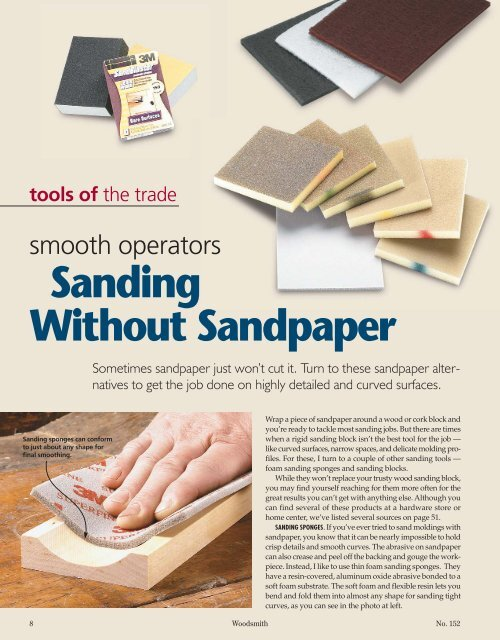 Sanding Without Sandpaper - Woodsmith Woodworking Seminars