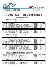 High flow performance - Nextek