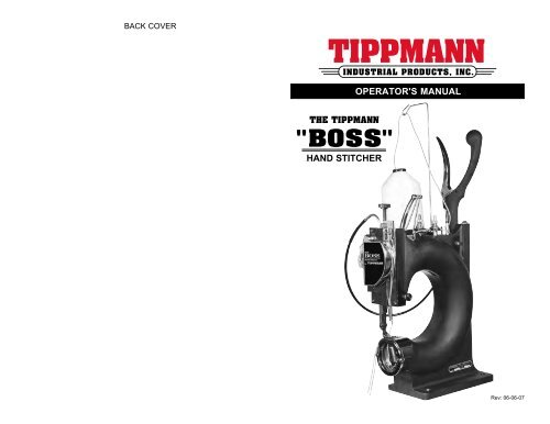 Back Cover for the Tippmann Boss Leather Sewing Machine