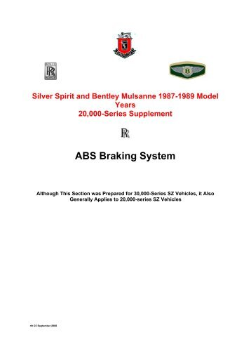 ABS Braking System - The Rolls-Royce and Bentley Technical Library