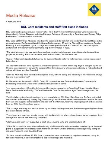 RSL Care staff and residents first class in