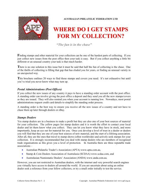 Where do I get stamps for my collection - Australian Philatelic