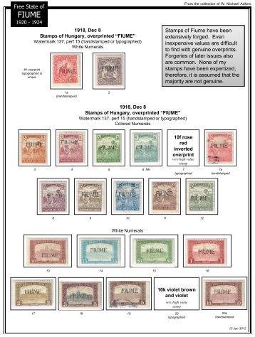 Free State of Stamps of Fiume have been extensively forged. Even ...