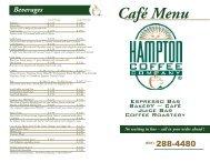 Café Menu - Hampton Coffee Company