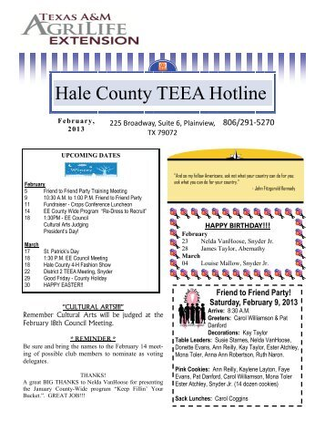 TEEA Hotline Newsletter - Hale | Texas AgriLife Extension Service ...
