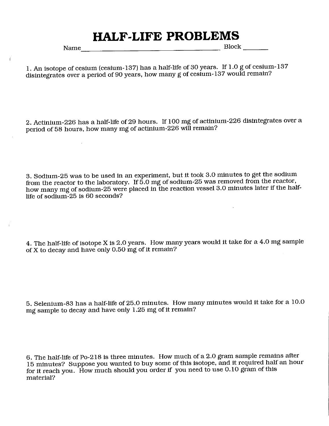 Worksheets Half Life Calculations Worksheet 1 free magazines from mrsbridgessciencepage wikispaces com com