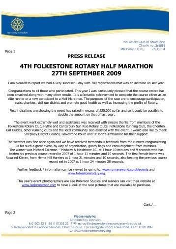 4th folkestone rotary half marathon 27th september 2009