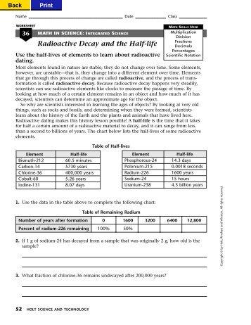 Get a Half-Life!: Student Worksheet Name