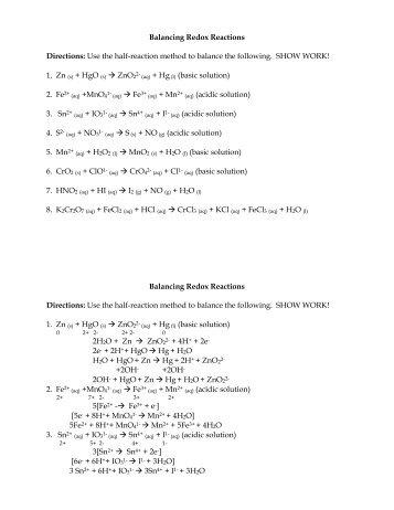 Oxidation – Reduction (Redox) Balancing: Method of Half-Reactions ...