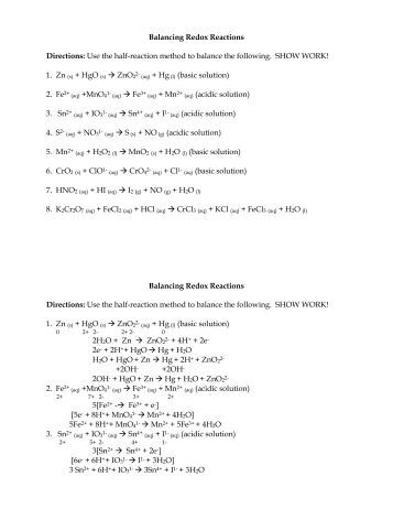 Oxidation – Reduction (Redox) Balancing: Method of Half-Reactions ...