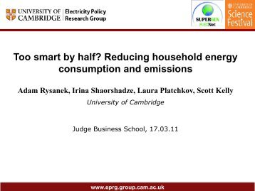 Too smart by half? Reducing household energy consumption and ...