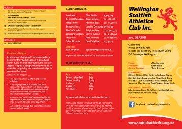 2012 Scottish Calendar - Wellington Scottish Athletics Club