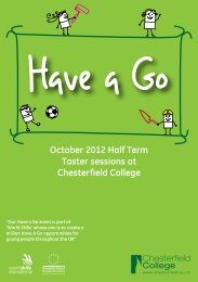 October 2012 Half Term Taster sessions at Chesterfield College