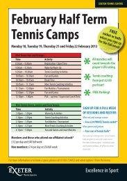 February Half Term Tennis Leaflet 2013 - Sport - University of Exeter