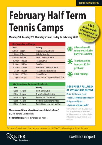 February Half Term Tennis Leaflet 2013 - Sport - University of Exeter