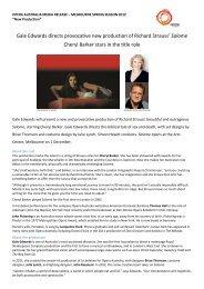 Gale Edwards directs provocative new production ... - Opera Australia