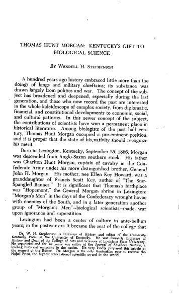 THOMAS HUNT MORGAN - The Filson Historical Society