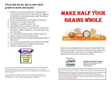 make half your grains whole grains whole - University of Wisconsin ...