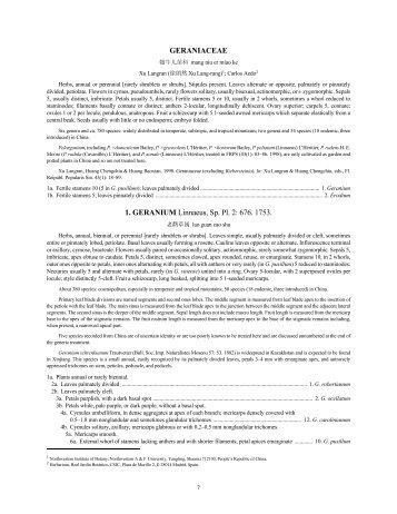 GERANIACEAE 1. GERANIUM Linnaeus, Sp. Pl. 2: 676. 1753.