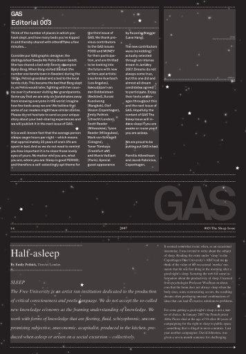 Half-asleep - GAS Fanzine