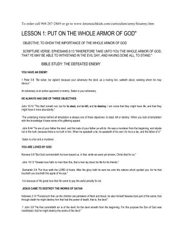 lesson 1: put on the whole armor of god - Let Us Teach Kids