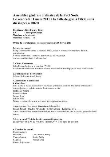 Assemblée générale ordinaire de la FSG Nods Le vendredi 11 mars ...