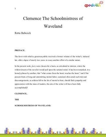 Clemence The Schoolmistress of Waveland