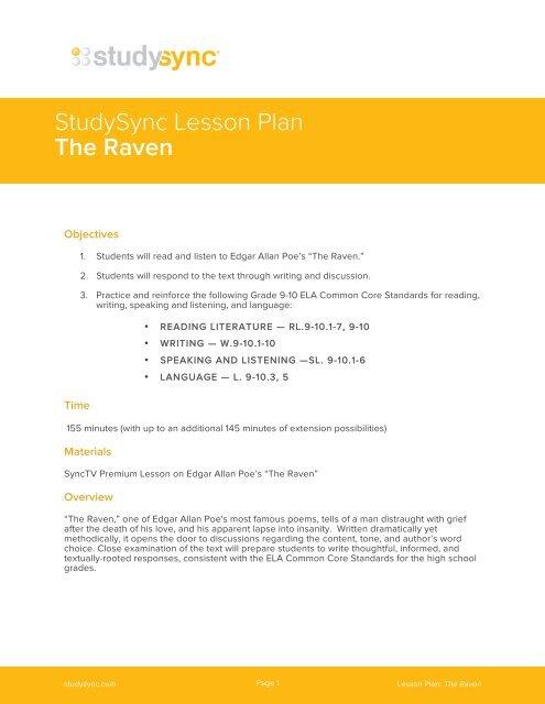 Lesson Plan Studysync
