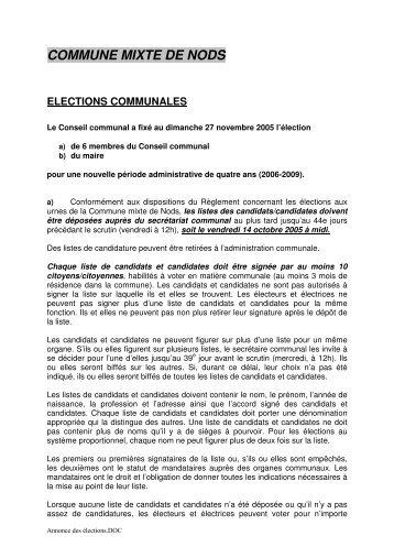 COMMUNE MIXTE DE NODS ELECTIONS COMMUNALES