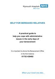 Download the Plymouth Hospitals NHS Trust Bereavement Services