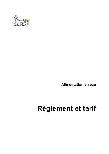 Règlement et tarif - Alimentation en eau - Nods