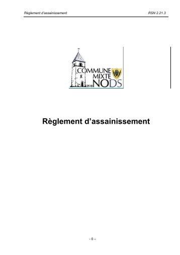 Règlement d'assainissement accepté en assemblée du ... - Nods
