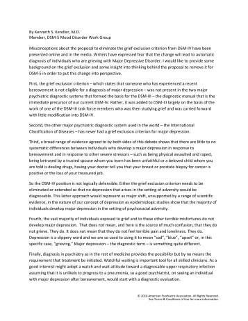 A Statement from Kenneth S. Kendler, M.D., on - DSM-5