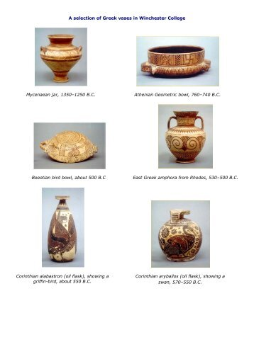 Greek vases - Winchester College
