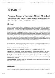 Foraging Ranges of Immature African White-Backed Vultures