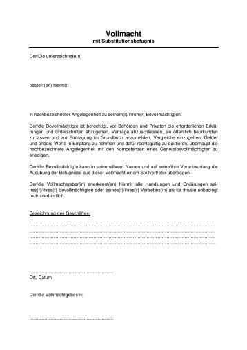 Vollmacht - Notariate, Grundbuch