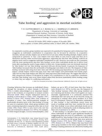 'False feeding' and aggression in meerkat societies - Department of ...