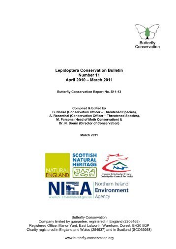 Lepidoptera Conservation Bulletin 2011 - Butterfly Conservation