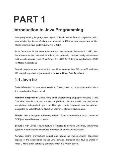 PART 1 Introduction to Java Programming