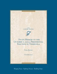 Study Mission to the October 7, 2012, Presidential Election in Venezuela
