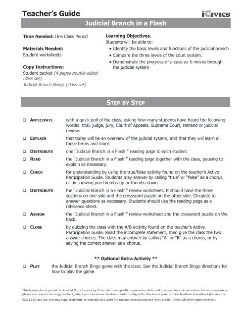Icivics Judicial Branch In A Flash Worksheet P.2 Answer ...