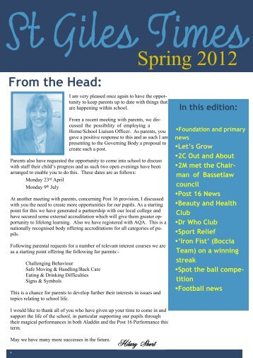 Newsletter Spring 2012 - Fronter