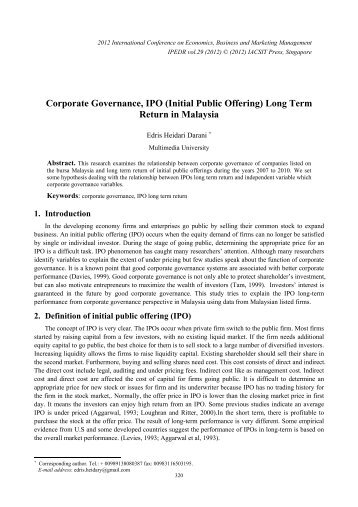Corporate Governance, IPO (Initial Public Offering) Long ... - ipedr