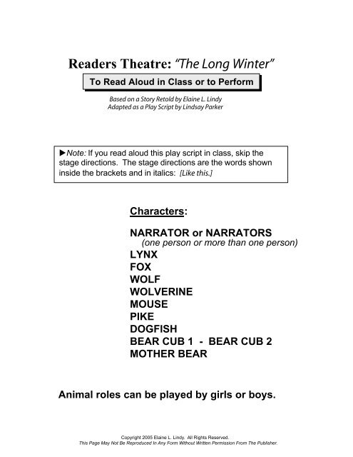 "Readers Theatre: ""The Long Winter"" - Whootieowl com"