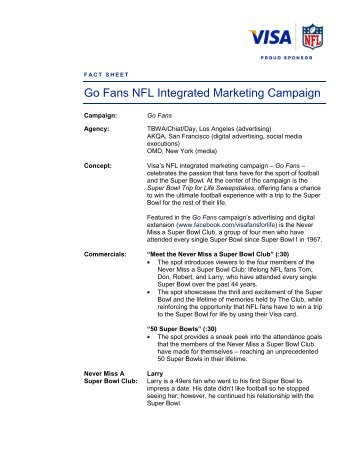 FACT SHEET Go Fans NFL Integrated Marketing Campaign - Visa 6138dad482d