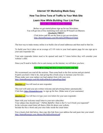 Internet 101 Marketing Made Easy How Too Drive - MyAdZoo's Live ...